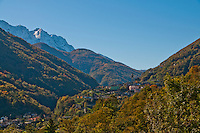Autumn view from the entrance to the Valle Onsernone in  Ticino, Southern Switzerland.