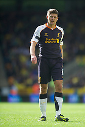 NORWICH, ENGLAND - Saturday, September 29, 2012: Liverpool's captain Steven Gerrard in action against Norwich City during the Premiership match at Carrow Road. (Pic by David Rawcliffe/Propaganda)