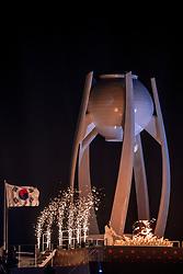 PYEONGCHANG-GUN, SOUTH KOREA - FEBRUARY 09: South Korean figure skater Kim Yu-na prepares to light the cauldron with the Olympic Flame during the Opening Ceremony of the PyeongChang 2018 Winter Olympic Games at PyeongChang Olympic Stadium on February 9, 2018 in Pyeongchang-gun, South Korea. Photo by Ronald Hoogendoorn / Sportida