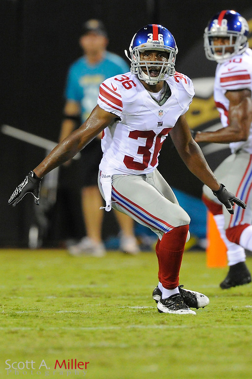 New York Giants cornerback Jayron Hosley (36) in coverage during the Giants NFL preseason game against the Jacksonville Jaguars at EverBank Field on August 10, 2012 in Jacksonville, Florida. ..©2012 Scott A. Miller..