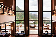 View of Eutok Samdrup Choeling Monastery through the main dining room (and outdoor terrace.)