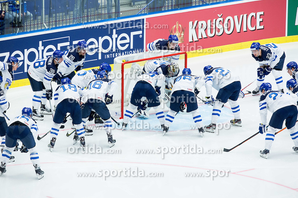 Team Finland prior to the Ice Hockey match between USA and Finland at Day 1 in Group B of 2015 IIHF World Championship, on May 1, 2015 in CEZ Arena, Ostrava, Czech Republic. Photo by Vid Ponikvar / Sportida