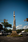 """EUFALA, AL – AUGUST 17, 2017: A monument stands in the Eufala town square honoring """"Our Naval Heroes of the Southern Confedracy."""""""