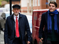 "© Licensed to London News Pictures. 10/01/2017. London, UK. Labour Party leader JEREMY CORBYN (left) seen in London with JAMES SCHNEIDER of Momentum (right) , on the day he is due to give a speech on Brexit, arguing that the UK ""can be better off"" after leaving the EU. Photo credit: Ben Cawthra/LNP"