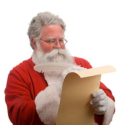 Santa on a whit background checking the toy list