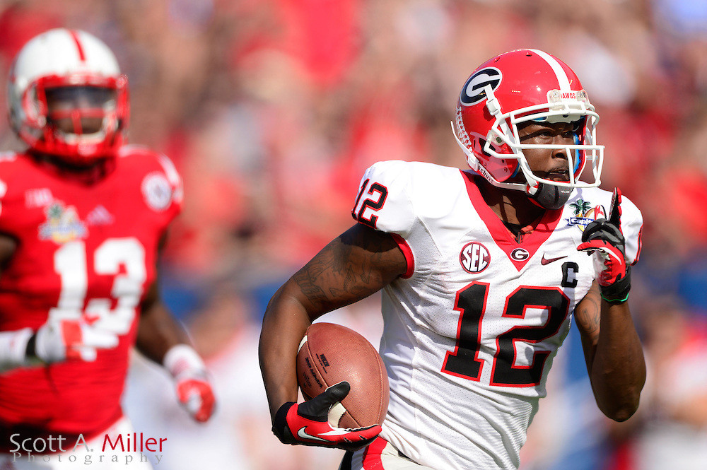 Georgia Bulldogs receiver Tavarres King (12) scores during the Bulldogs 45-31 win over the Nebraska Cornhuskers in the Capital One Bowl at the Florida Citrus Bowl on Jan 1, 2013 in Orlando, Florida. ..©2012 Scott A. Miller..