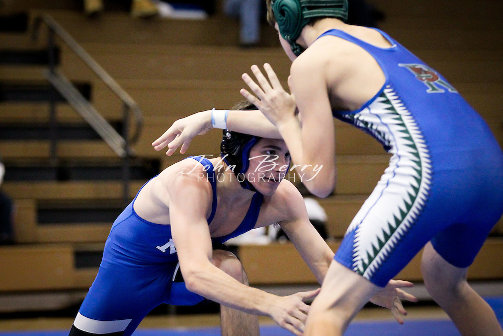 """The Varsity Wrestling team hosted 12 teams today in the Madison Duals tournament. Madison beat the Riverbend """"B"""" team 54-12 to open the day and then lost to Loudoun Valley (40-30), Orange (33-30), Culpeper (42-28) and Colonial Forge """"B"""" team ( 53-25). Hunter Welch and Ethan O'Connell both went 5-0 on the day and O'Connell became the schools all time pin leader. Jacob Welch, Danny Camunas and Anthony Jewett all went 4-1. Jeff Foster, Brandon Campbell and Derek Nicholson all went 3-2.   December/23/10:  MCHS Varsity Wrestling vs Riverbend, 4th Annual Madison Duals Wrestling Tournament"""