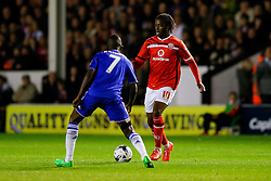 Romaine Sawyers of Walsall is challenged by Ramires of Chelsea - Mandatory byline: Rogan Thomson/JMP - 07966 386802 - 23/09/2015 - FOOTBALL - Bescot Stadium - Walsall, England - Walsall v Chelsea - Capital One Cup.