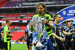 Free to use courtesy of Sky Bet, Michael Hefele of Huddersfield Town holds the sky bet championship play off trophy - Mandatory by-line: Jason Brown/JMP - 29/05/2017 - FOOTBALL - Wembley Stadium - London, England - Huddersfield Town v Reading - Sky Bet Championship Play-off Final