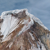 Smoking summit of Iliamna Volcano, located in Lake Clark National Park, Alaska