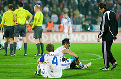 Peter Pekarik and Marek Hamsik dissapointed after  the 2010 FIFA World Cup South Africa Qualifying match between Slovakia and Slovenia, on October 10, 2009, Tehelne Pole Stadium, Bratislava, Slovakia.  (Photo by Vid Ponikvar / Sportida)