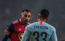 December 13, 2018 - Budapest, Hungary - Emerson Palmieri (R) in action during the UEFA Europa League Group L match between MOL Vidi FC and Chelsea FC at Groupama stadium on Dec 13, 2018 in Budapest, Hungary. (Credit Image: © Robert Szaniszlo/NurPhoto via ZUMA Press)