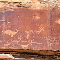 A panel of petroglyphs, the so-called Nefertiti petroglyphs, in the Green River Canyon near Green River, Utah