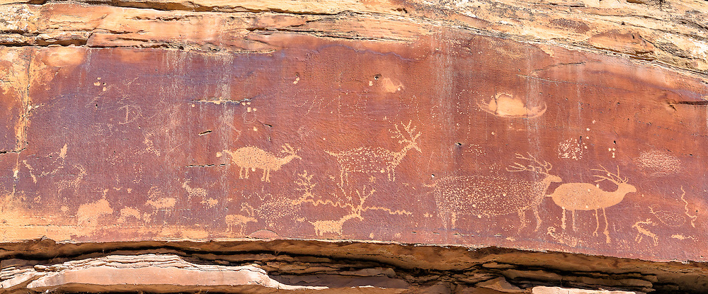 A panel of petroglyphs, the so-called Nefertiti petroglyphs, in the Green River Canyon near Green River, Utah