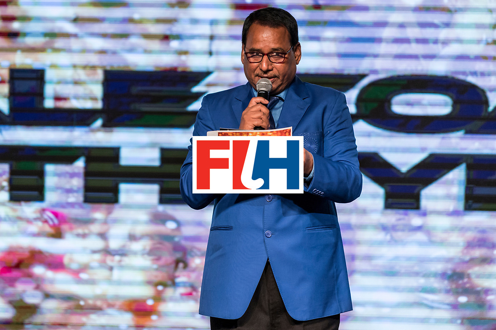 CHANDIGARH, INDIA - FEBRUARY 23: Mohd. Mushtaque Ahmad, General Secretary of Hockey India speaks during the FIH Hockey Stars Awards 2016 at Lalit Hotel on February 23, 2017 in Chandigarh, India. (Photo by Ali Bharmal/Getty Images for FIH)