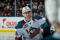 KELOWNA, CANADA - FEBRUARY 23:  Cal Foote #25 of the Kelowna Rockets celebrates a goal against the Seattle Thunderbirds on February 23, 2018 at Prospera Place in Kelowna, British Columbia, Canada.  (Photo by Marissa Baecker/Shoot the Breeze)  *** Local Caption ***