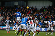 Oviemuno Ejaria of Rangers rises above the crown to head towards goal during the Ladbrokes Scottish Premiership match between St Mirren and Rangers at the Simple Digital Arena, Paisley, Scotland on 3 November 2018.