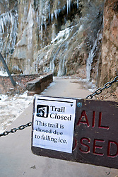 National Park Service warning sign indicating hiking trail is closed to due to falling ice, Zion National Park, Utah, United States of America