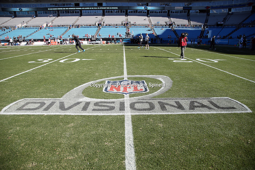 Interior general view of the NFL Divisional Playoff logo painted on the grass at Bank of America Stadium before the Carolina Panthers NFC Divisional Playoff NFL football game against the San Francisco 49ers on Sunday, Jan. 12, 2014 in Charlotte, N.C. ©Paul Anthony Spinelli
