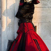 VENICE, ITALY - FEBRUARY 25:  A woman dressed in Carnival Costume poses at the Doge Palace on February 25, 2014 in Venice, Italy. The 2014 Carnival of Venice will run from February 15 to March 4 and includes a program of gala dinners, parades, dances, masked balls and music events.  (Photo by Marco Secchi/Getty Images)