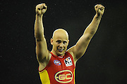 GOLD COAST, AUSTRALIA - JUNE 08:  Gary Ablett of the Suns celebrates victory during the round 11 AFL match between the Gold Coast Suns and the North Melbourne Kangaroos at Metricon Stadium on June 8, 2013 on the Gold Coast, Australia.  (Photo by Matt Roberts/Getty Images)