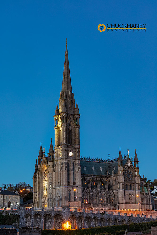 Dusk at St Colmans Cathedral in Cobh, Ireland