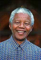 Oct. 20, 1996 - Cape Town, South Africa - NELSON MANDELA on the steps of Genadenal during the visit of Shimon Peres.  (Credit Image: © Sasa Kralj/JiwaFoto/ZUMAPRESS.com)