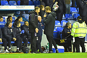 Stoke City manager Gary Rowett complains to the 4th official about the foul on Tom Ince (7) of Stoke City by Sam Baldock (9) of Reading after Mo Barrow (17) of Reading scored the equalising goal to make the score 2-2 during the EFL Sky Bet Championship match between Reading and Stoke City at the Madejski Stadium, Reading, England on 1 December 2018.