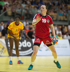 01.06.2016 , Olympiaworld, Innsbruck, AUT, EHF, Frauen EM Qualifikation, Österreich vs Spanien, im Bild v.l.n.r.: Alexandrina Cabral Barbosa (Spanien) und Katrin Engel (Österreich) // during the during the EHF womens Handball Euro Qualification match between Austria and Spain at the Olympiaworld in Innsbruck, Austria on 2016/06/01. EXPA Pictures © 2016, PhotoCredit: EXPA/ Jakob Gruber