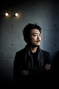 Tokyo, November 9 2012 - Portrait of Japanese director Atsushi Funahashi. He directed Nuclear Nation, a documentary about the exile of Futaba's residents, the region housing the crippled Fukushima Daiichi nuclear power plant.