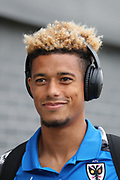 AFC Wimbledon striker Lyle Taylor (33) arriving at the ground during the EFL Trophy match between Barnet and AFC Wimbledon at Underhill Stadium, London, England on 29 August 2017. Photo by Matthew Redman.