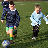 St. Pat's Dean Cleary and Connolly's Colin Slattery fight for posession during a soccer blitz at Lees Road on Saturday morning.<br /> <br /> Photograph by Yvonne Vaughan.