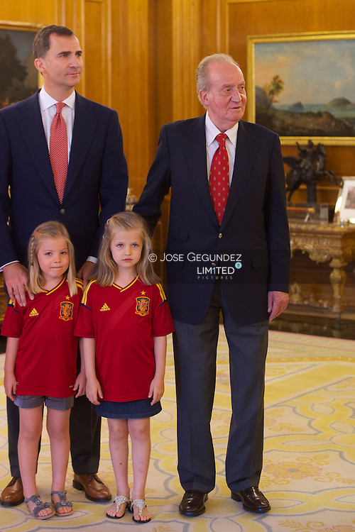 King Juan Carlos, Prince Felipe, Princess Letizia, Princess Elena, Princess Leonor and Princess Sofia attends an audience with Spanish Football Team, winner of Eurocup 2012 at Zarzuela Palace in Madrid