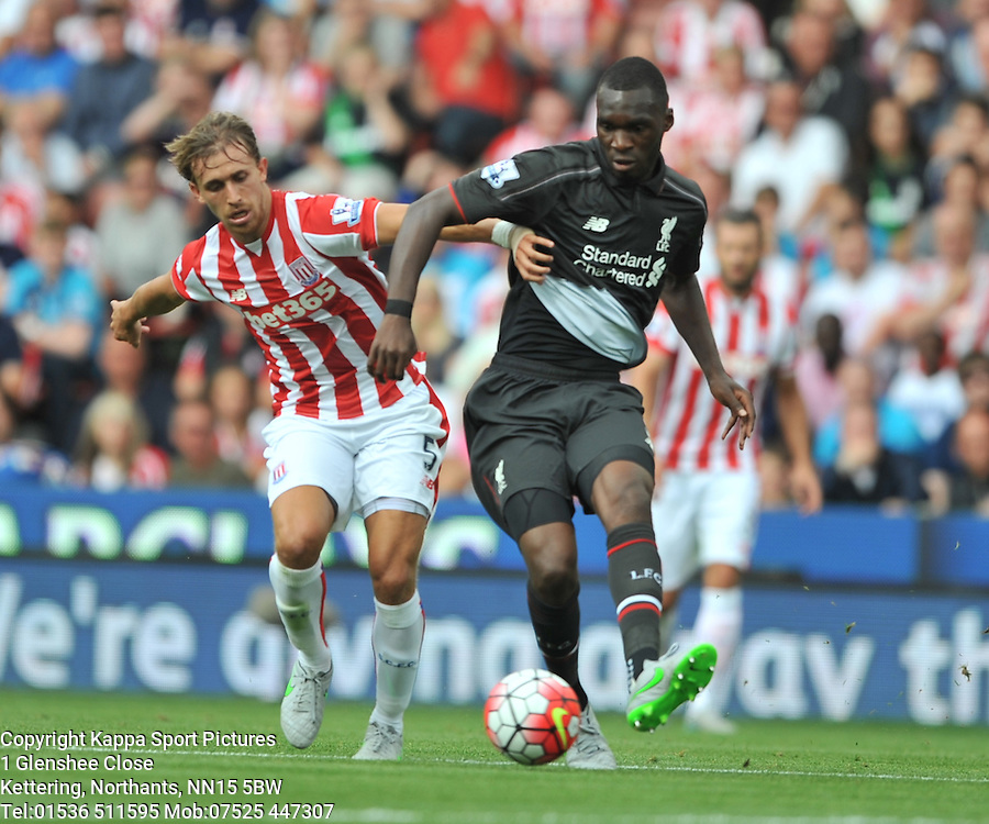 STOKE MARC MUNIESA PULLS BACK LIVERPOOL CHRISTIAN BENTEKE, Stoke City v Liverpool, Premiership, Britannia Stadium Sunday 9th August 2015