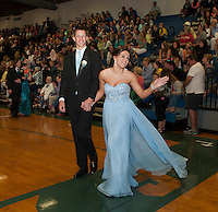 Jake Sullivan escorts Kirsten Dionne during Gilford High School's Prom March on Friday evening.  (Karen Bobotas/for the Laconia Daily Sun)