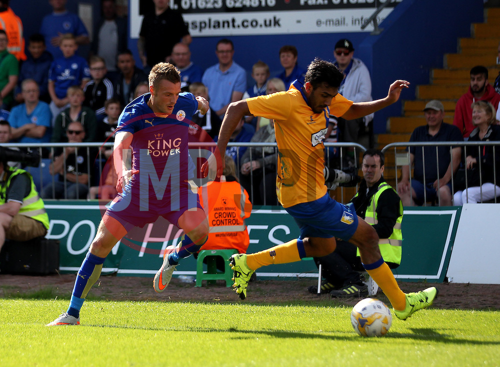 Leicester City's Jaimie Vardy chases down Mansfield Town's - Mandatory by-line: Robbie Stephenson/JMP - 25/07/2015 - SPORT - FOOTBALL - Mansfield,England - Field Mill - Mansfield Town v Leicester City - Pre-Season Friendly