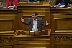 June 9, 2017 - Athens, Attiki, Greece - Euclid Tsakalotos, Greek Minister of Finance during his speech in Hellenic Parliament. (Credit Image: © Dimitrios Karvountzis/Pacific Press via ZUMA Wire)