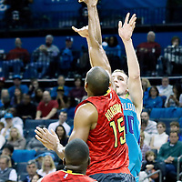 01 November 2015: Atlanta Hawks forward Al Horford (15) blocks Charlotte Hornets forward Cody Zeller (40) during the Atlanta Hawks 94-92 victory over the Charlotte Hornets, at the Time Warner Cable Arena, in Charlotte, North Carolina, USA.