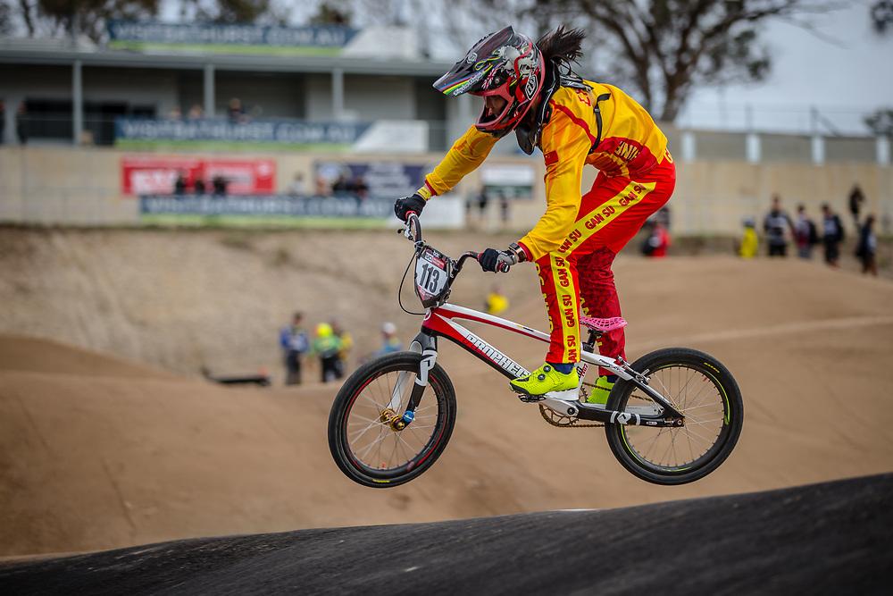 #113 (LU Yan) CHN at Round 3 of the 2020 UCI BMX Supercross World Cup in Bathurst, Australia.