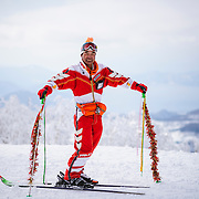 Asataroh Akiba, backwards skiing pioneer, has been skiing switch for over 40 years.