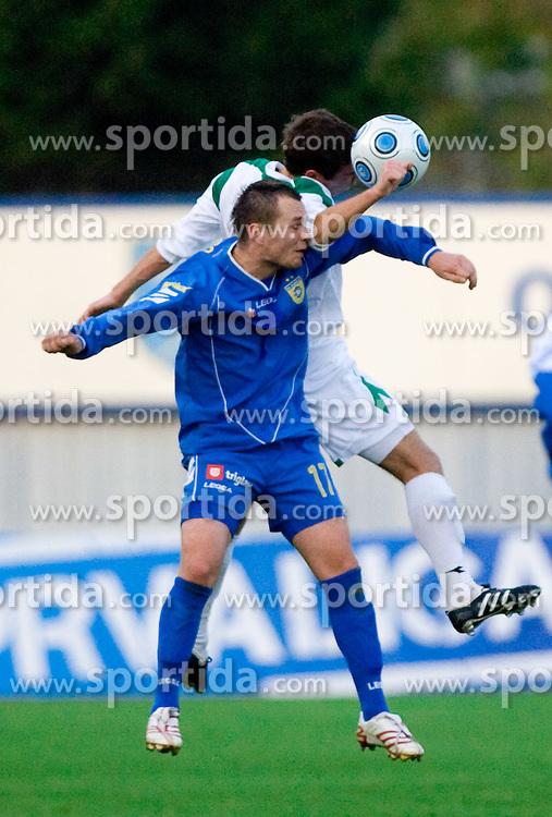 Dalibor Stojanovic of Domzale vs Boban Jovic of Olimpija  at football match of 15th Round of Slovenian Prva Liga between NK Domzale vs NK Olimpija, on October 28, 2009, in Sports park Domzale, Domzale, Slovenia.   (Photo by Vid Ponikvar / Sportida)