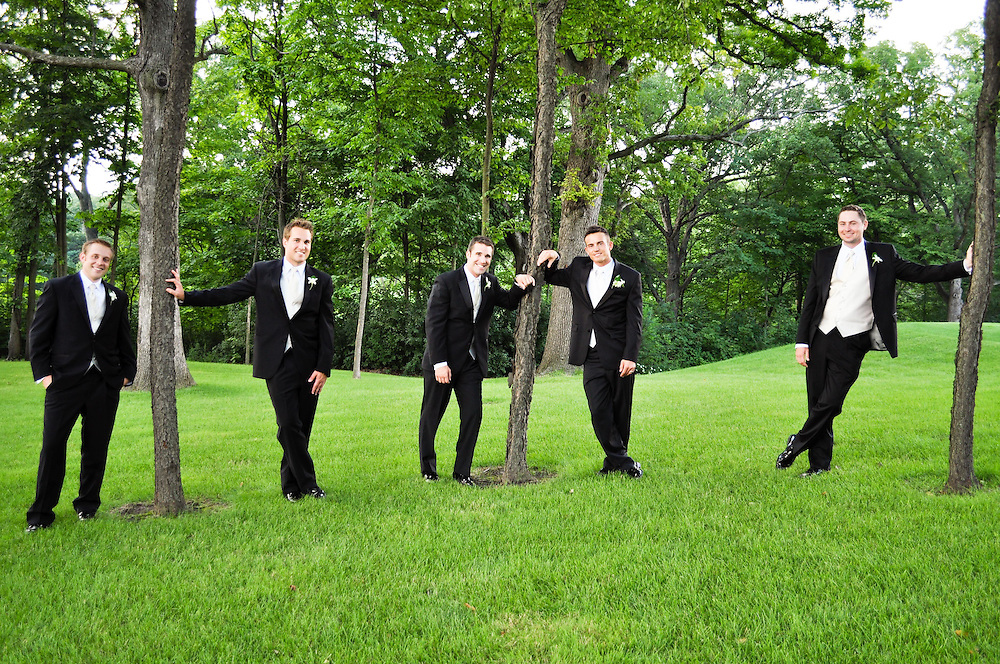 Alan & his groomsmen lean against trees at St. Charles Country Club, St. Charles, IL