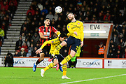 Shkodran Mustafi (20) of Arsenal heads the ball clear of Dominic Solanke (9) of AFC Bournemouth during the The FA Cup match between Bournemouth and Arsenal at the Vitality Stadium, Bournemouth, England on 27 January 2020.