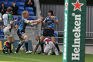 Cardiff Blues wing Tom James (r) celebrates his try with teammate Andy Powell (l). Cardiff Blues v Harlequins , Heineken cup match at the Cardiff City Stadium on Sat 10th Oct 2009. pic by Andrew Orchard