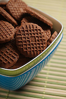 Chocolate cookies in bowl - close-up