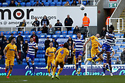 Ovie Ejaria (14) of Reading heads the ball away during the EFL Sky Bet Championship match between Reading and Preston North End at the Madejski Stadium, Reading, England on 19 October 2019.