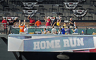 Apr. 17 2011; Phoenix, AZ, USA; Fans react after Arizona Diamondbacks batter Justin Upton (10) hits a single home run during the fifth inning against the San Francisco Giants at Chase Field. Mandatory Credit: Jennifer Stewart-US PRESSWIRE