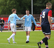Matty Allan is congratulated after scoring - Highland League Turriff United v Dundee under 20s - pre-season friendly at The Haughs, Turriff<br /> <br />  - &copy; David Young - www.davidyoungphoto.co.uk - email: davidyoungphoto@gmail.com