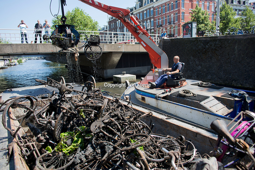 Removing bicycles from the canals in Amsterdam