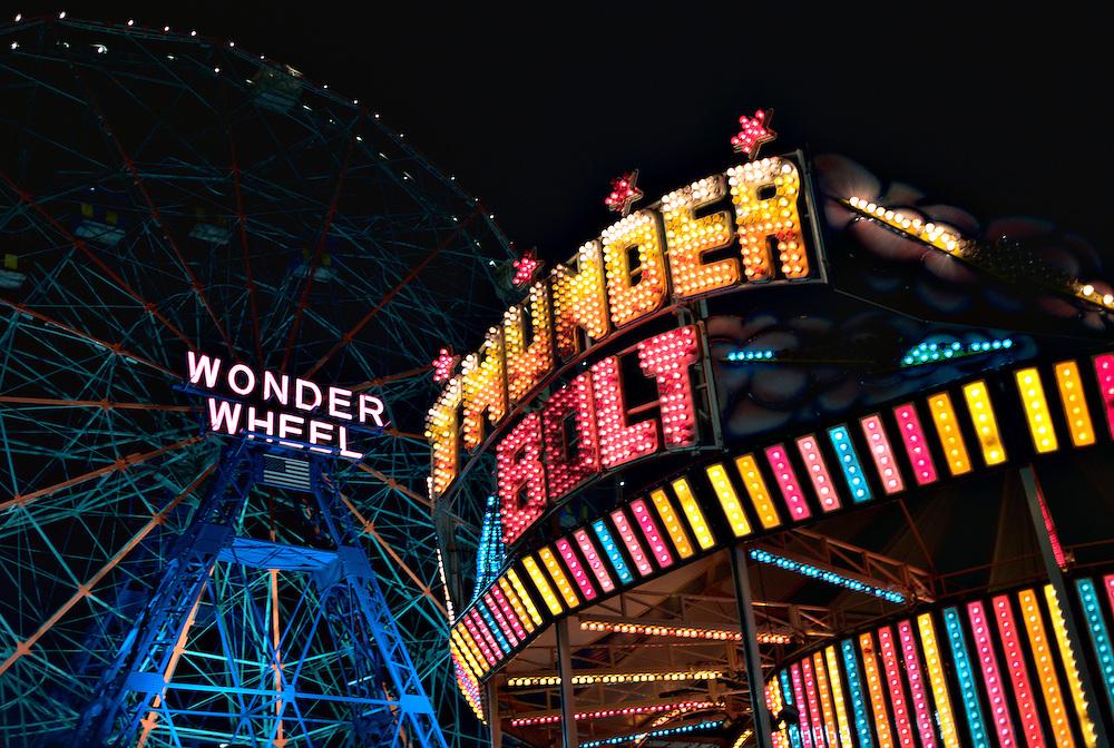 Thunder Bolt ride and Wonder Wheel, Coney Island, New York